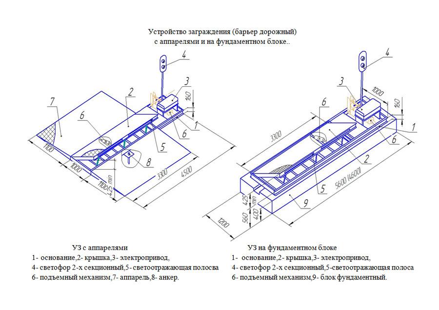 Схема устройства заграждения
